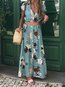Beach Collar Printed Pattern Polyester Casual Dresses (Style V100385)