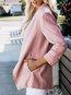V-neck Long Office Plain Polyester Coat (Style V101181)