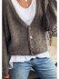 V-neck Loose Fashion Plain Button Coat (Style V102483)