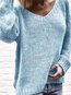 V-neck Short Fashion Plain Knitted Sweater (Style V102531)