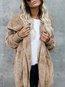 Midi Loose Casual Plain Polyester Coat (Style V102565)