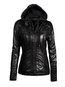 Hooded Long Western Plain PU Leather Jacket (Style V201643)
